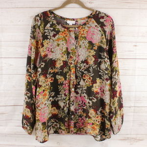 J. Jill L Floral Pleated Button Blouse Large